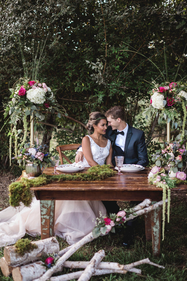 Bride and Groom At Table | Details For The Perfect Floral Wedding | Kate Aspen