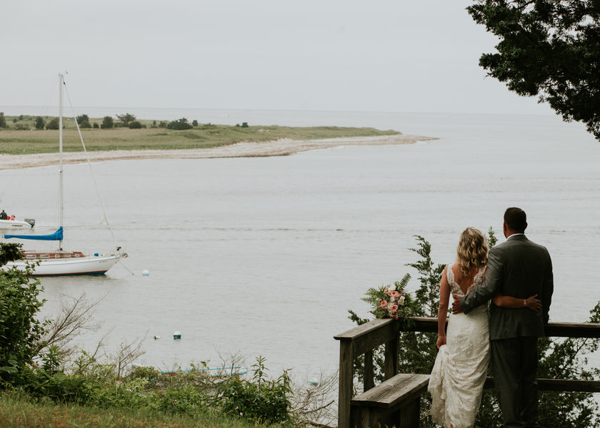 Bride and Groom By The Water | A New England Nautical Wedding | Kate Aspen
