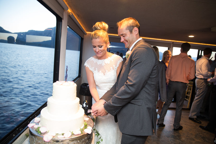 Cutting the Cake | Nautical Wedding On A Boat | Jeramie Lu Photography