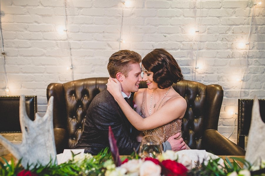 Bride and Groom Embracing | Art Deco Wedding Inspiration | Edward Lai Photography