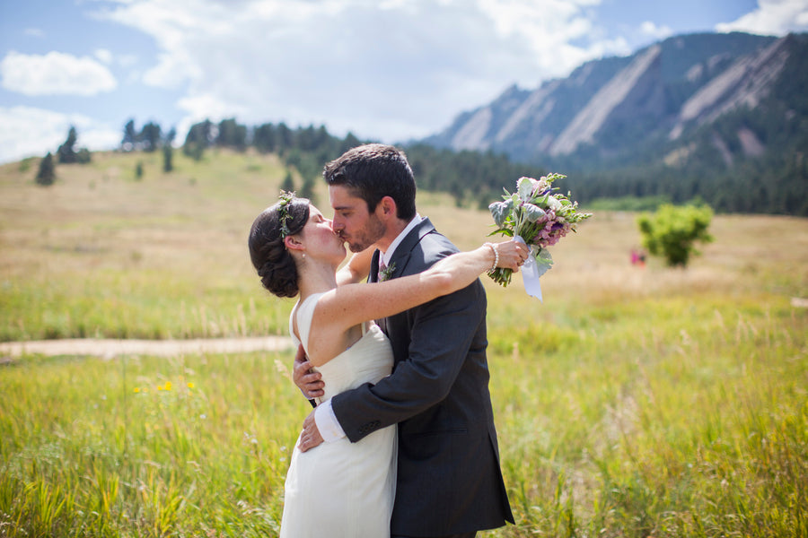Bride and Groom Kiss | First Look | Colorado Wedding  | Katie Keighin Photography