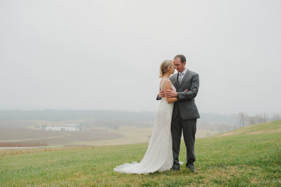 Bride and Groom on Foggy Hill| 1920s Inspired Wedding | Priscilla Thomas Photography