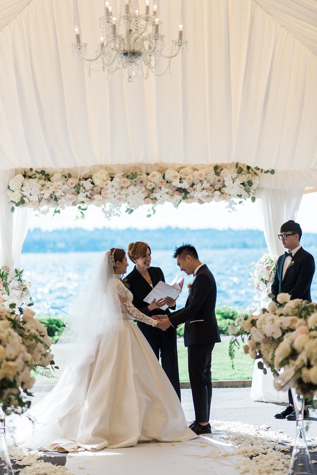 Bride and Groom Getting Married | A Grand Wedding On The Water | Kate Aspen