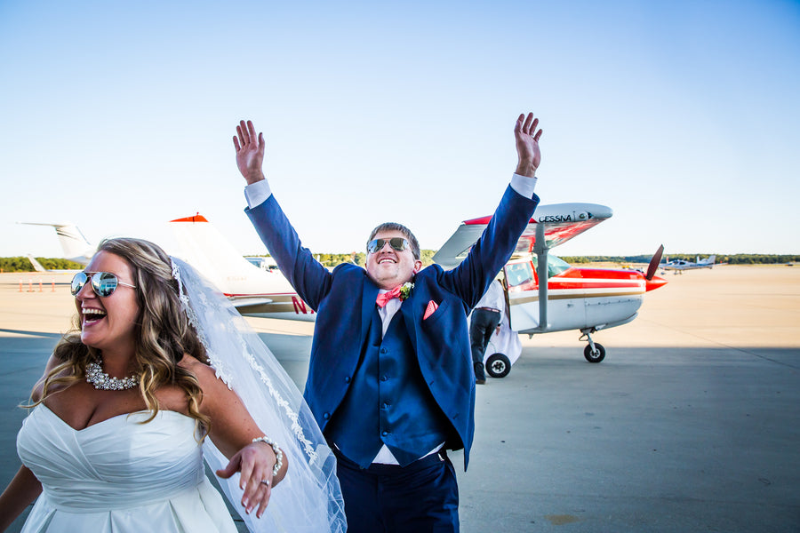 Bride and Groom Getting Off Plane | Aviation Themed Wedding | Red Bridge Photography