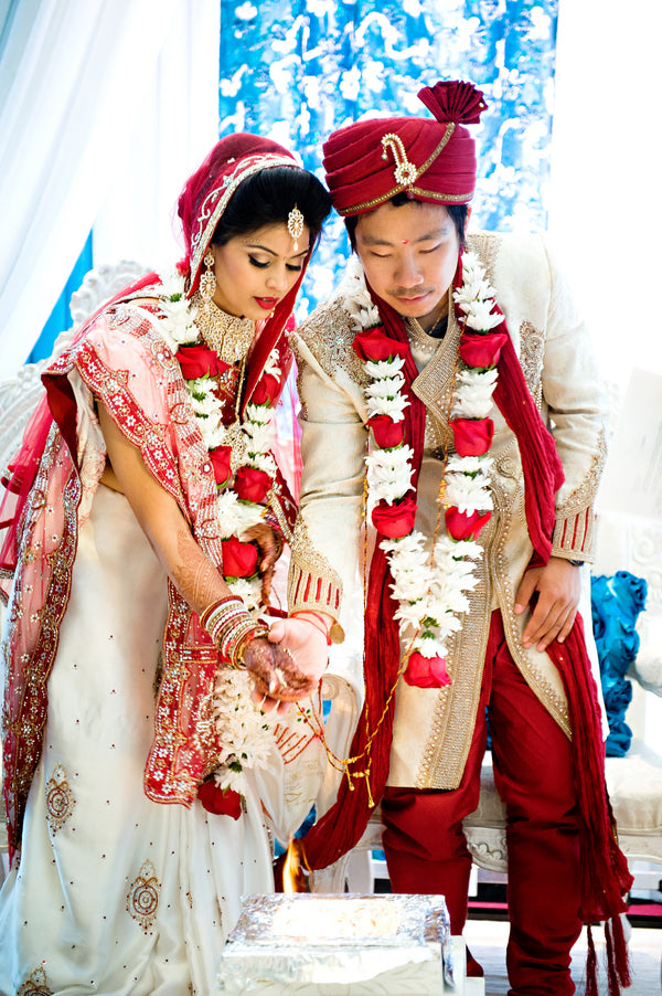 Bride and Groom During Ceremony | Hindu Chinese Wedding | HRM Photography