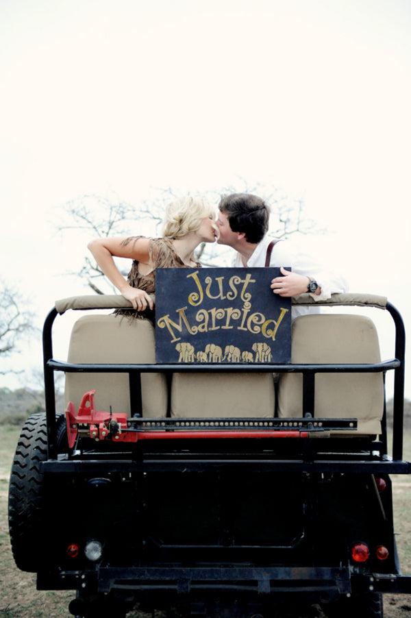 Bride and Groom Just Married in Jeep in Africa | Sarah Marie Photos