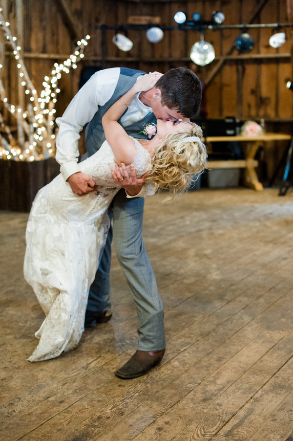 Bride and Groom Kiss After First Dance  | Spring Rustic Barn Wedding | Time Into Pixels Photography