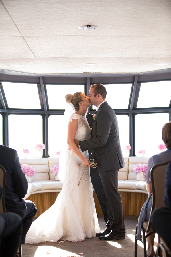 Bride and Groom Kiss | Nautical Wedding On A Boat | Jeramie Lu Photography