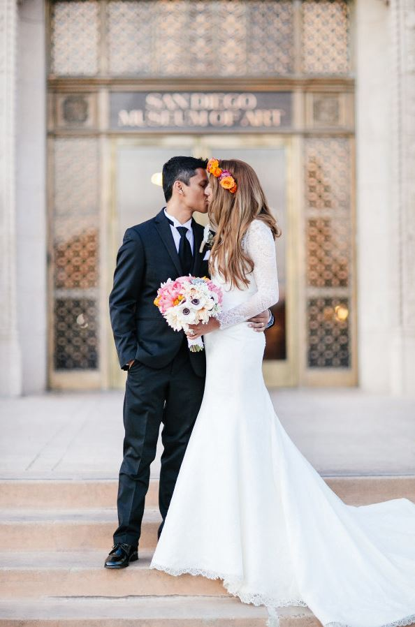 Bride and Groom Kissing |Petula Pea Photography | Colorful Museum Wedding