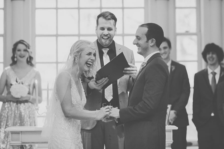 Bride and Groom Laugh at Altar | 1920s Inspired Wedding | Priscilla Thomas Photography