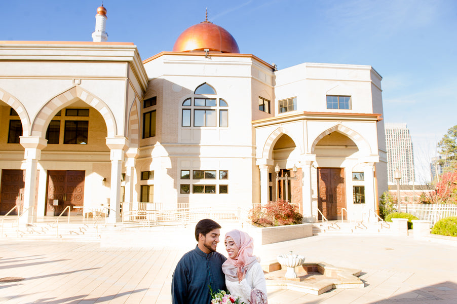Bride and Groom Muslim Mosque | Fusion South Asian Wedding | Paris Mountain Photography