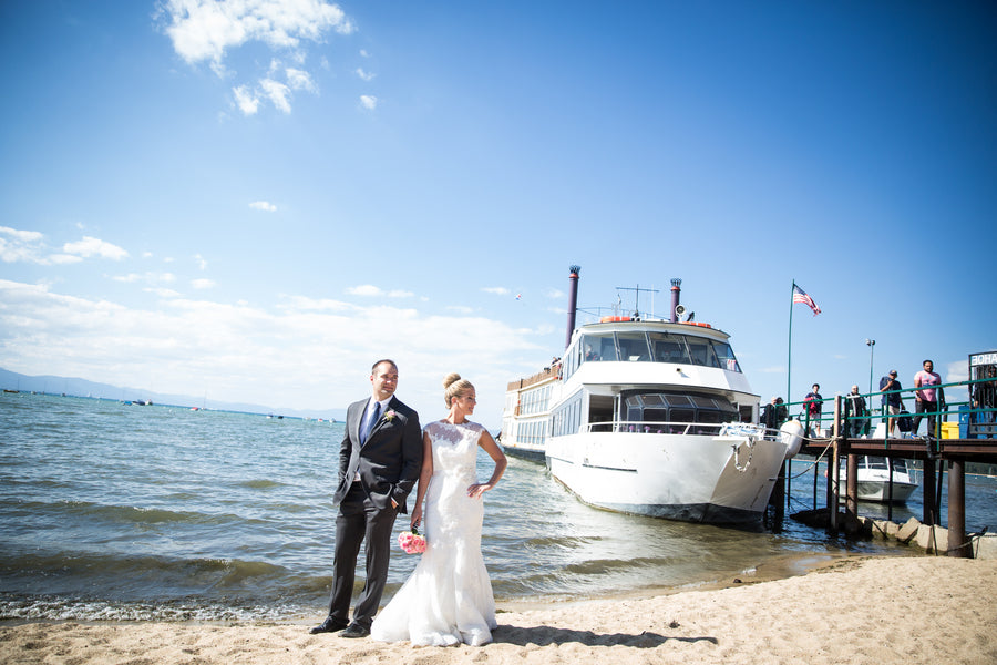 Bride and Groom on Beach | Nautical Wedding On A Boat | Jeramie Lu Photography