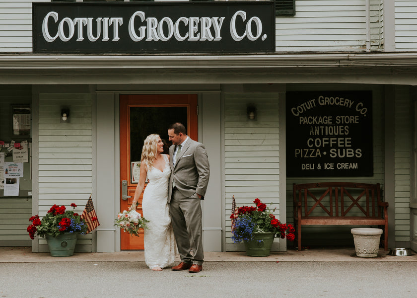 Bride and Groom Outside of Grocery | A New England Nautical Wedding | Kate Aspen