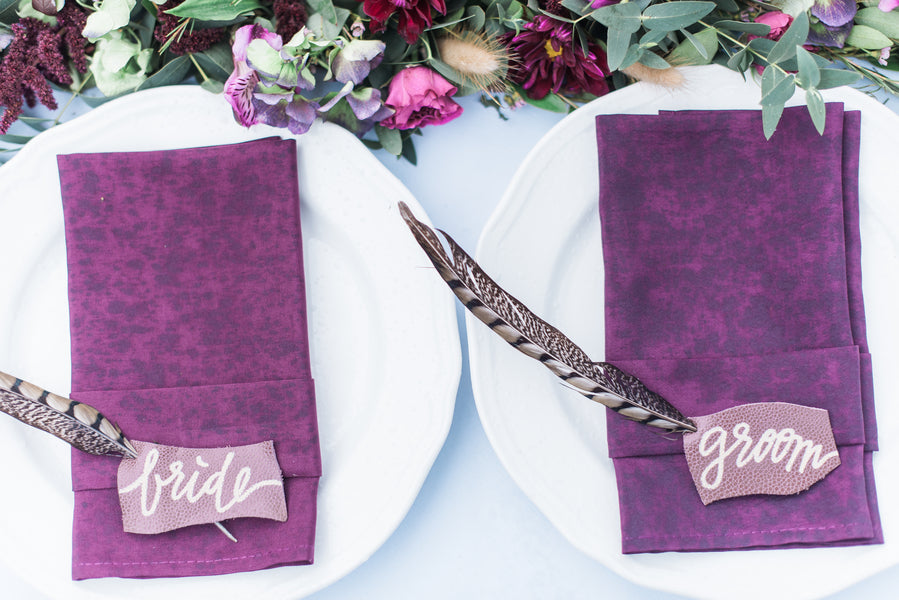 Purple Place Settings | Boho Wedding Inspiration | B. Jones Photography