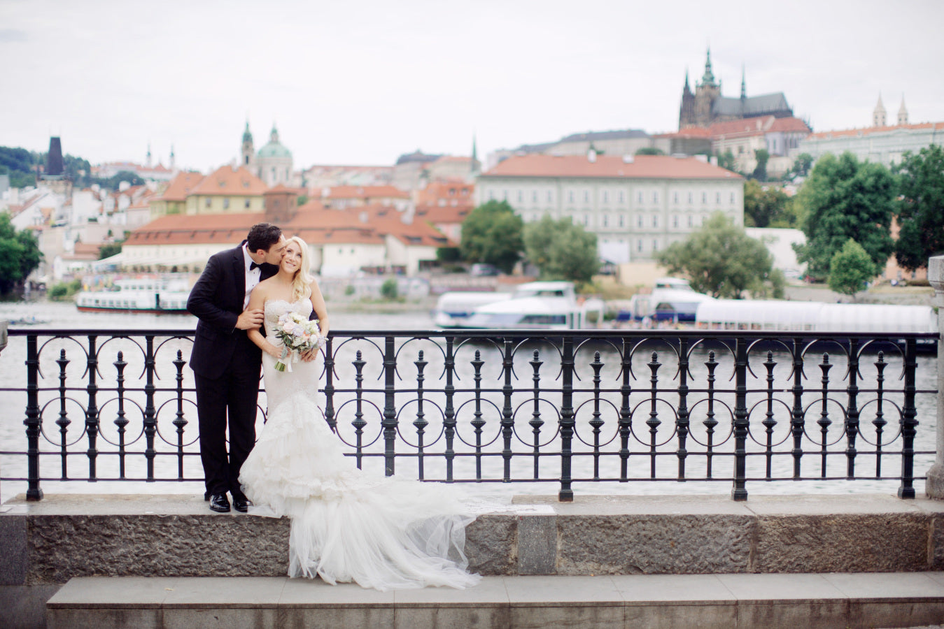 Bride and Groom Prague in Background | Summer Wedding in Prague | Photography: Stepan Vrzala
