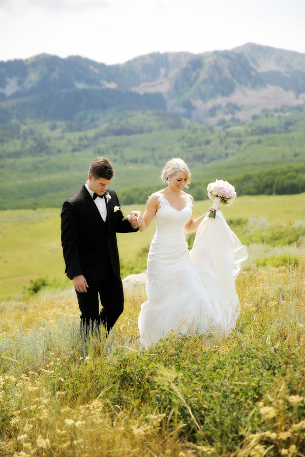 Bride and Groom Walking | Pepper Nix Photography | Utah Mountain Wedding