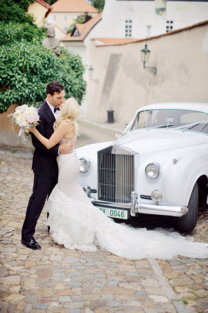 Bride and Groom White Vintage Car | Stepan Vrzala Photography | Summer Wedding in Prague