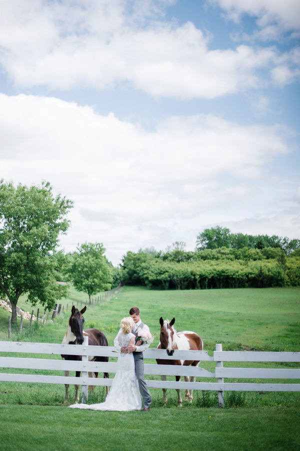 Bride and Groom with Horses  | Spring Rustic Barn Wedding | Time Into Pixels Photography