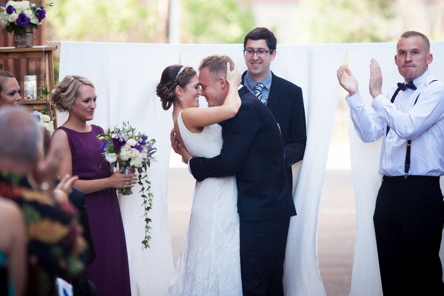 Bride and Groom as Husband and Wife | Purple Industrial Themed Wedding | Asteria Photography