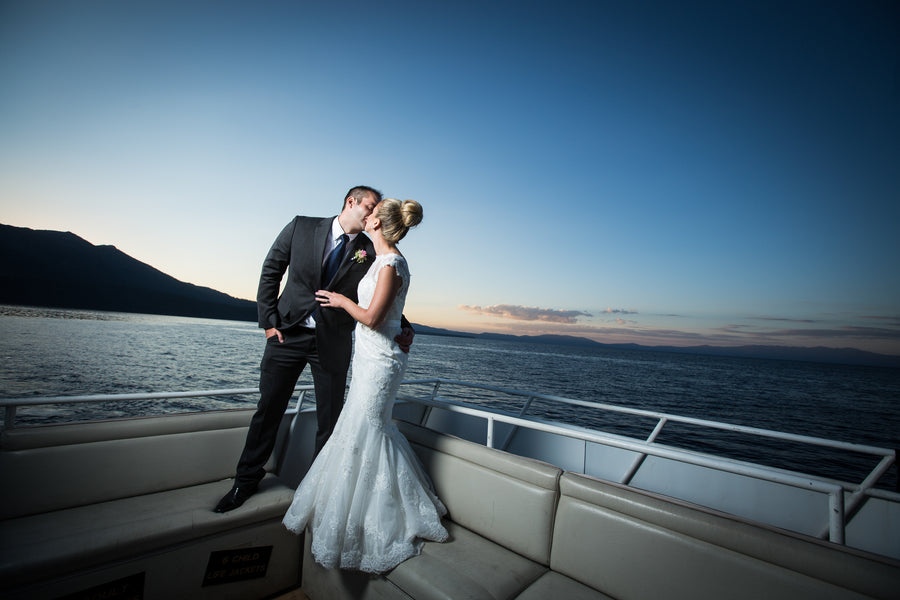 Bride and Groom at Dusk | Nautical Wedding On A Boat | Jeramie Lu Photography