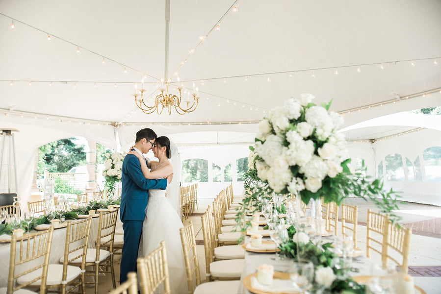 Bride and Groom at Reception | A Simple & Sweet Garden Wedding | Kate Aspen
