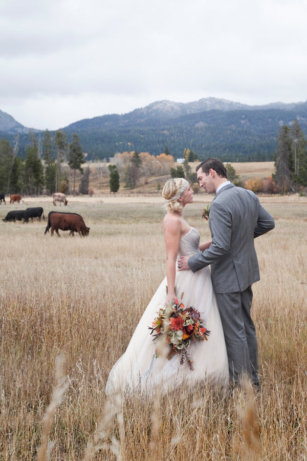 Bride and Groom in Field |  Tana Photography LLC