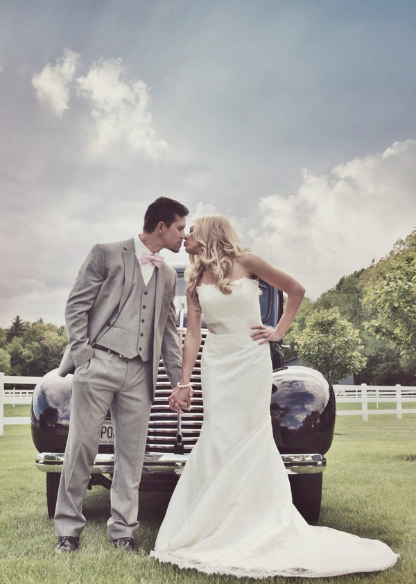 Bride and Groom Pose in Front of Vintage Truck | Laura Dee Photography