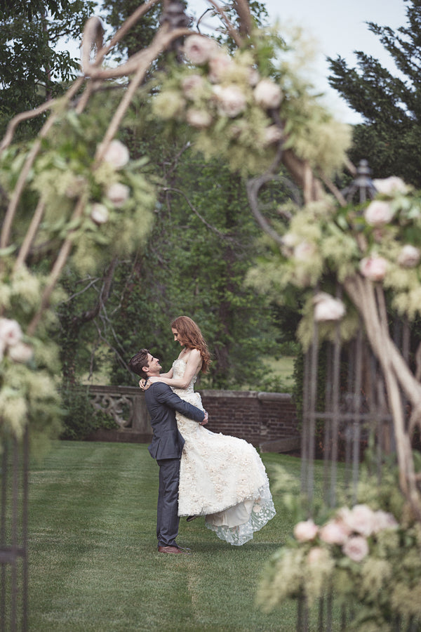 Bride and Groom in Garden | Garden Wedding Ideas | Jaylim Studio | Kate Aspen