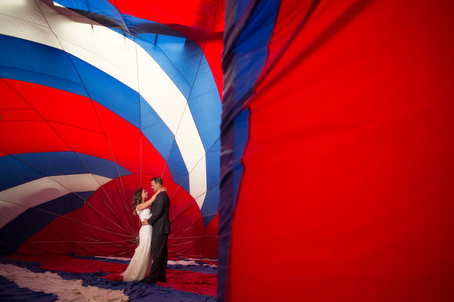 Bride and Groom in Hot Air Balloon Art Installation | Candice C Cusic Photography