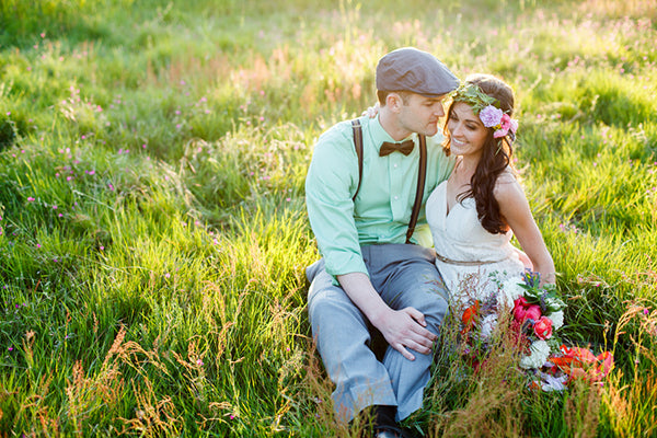 Bohemian Bride and Groom in Field | Rebecca Anne Photography