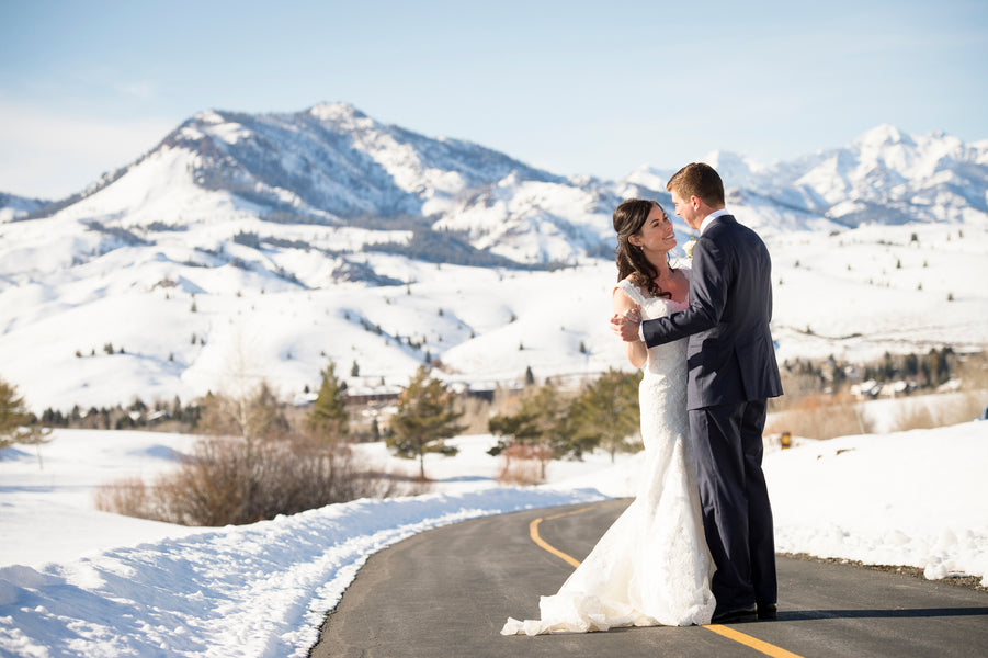 Bride and Groom in Snowy Mountains | A Charmingly Cozy Winter Wedding | Dev Khalsa Photography | Kate Aspen