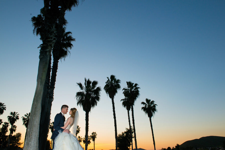 Bride and Groom in Sunset | A Beautiful Blush Wedding | Kate Aspen