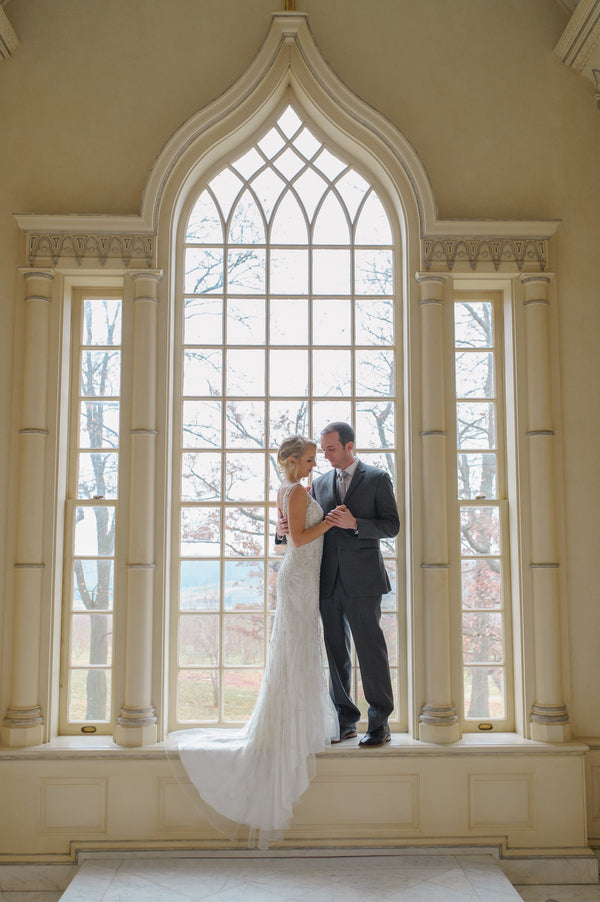Bride and Groom in Window | 1920s Inspired Wedding | Priscilla Thomas Photography