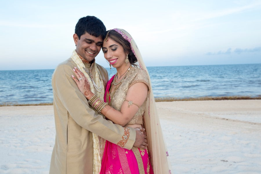 Bride and Groom on the Beach | Indian Fusion Wedding | Adrienne Fletcher Photography