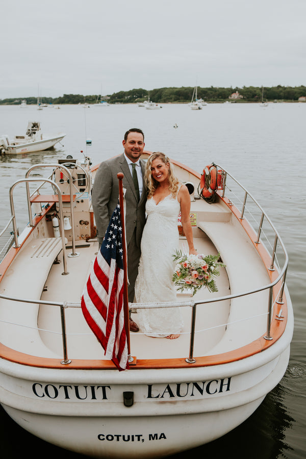 Bride and Groom on Boat | A New England Nautical Wedding | Kate Aspen