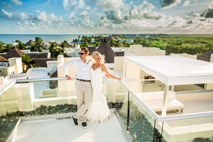 Bride and Groom on Rooftop | Destination Beach Wedding | Aldabella Photography