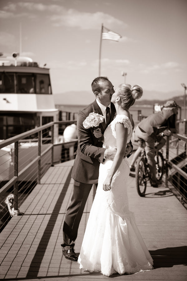 Bride and Groom on Deck | Nautical Wedding On A Boat | Jeramie Lu Photography