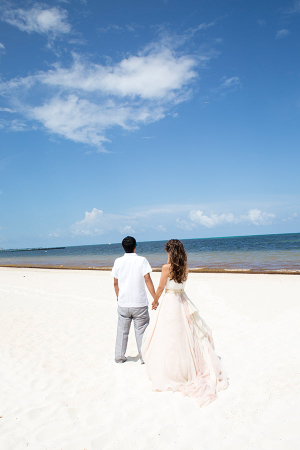Bride and Groom on the Beach in Cancun, Mexico | Mexican Indian Fusion Wedding | Adrienne Fletcher Photography | @kateaspen