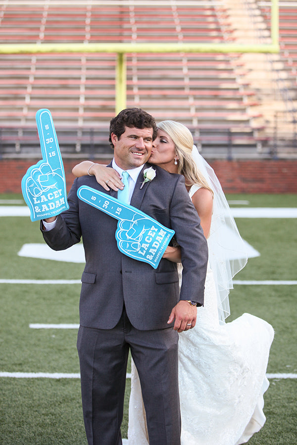 Bride and Groom on Football Field | Wes Roberts Photography