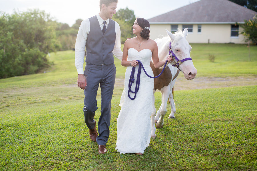 Bride and Groom With Horse  | Whimsical Rustic Barn Wedding | McKenzie Stewart Weddings