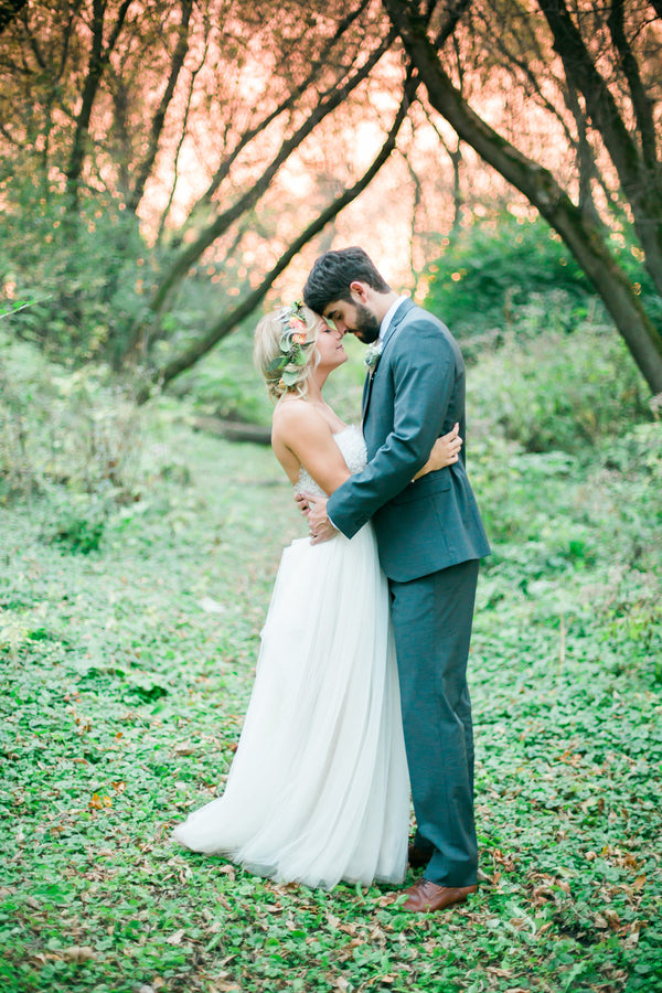 Bride and Groom | A Flowery Fall Wedding | Kate Aspen