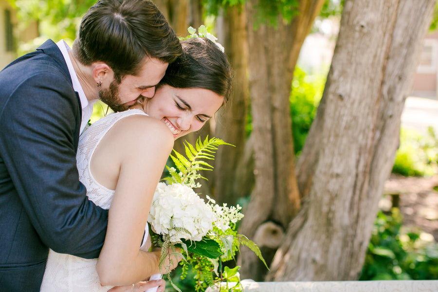 Bride and Groom | A Green and White Garden Wedding | Jeannine Marie Photography