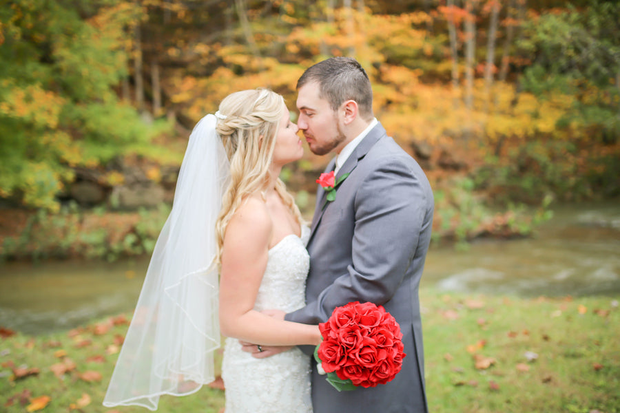 Bride and Groom | Vibrant Red Accents In A Stunning Fall Wedding | Wild and Wonderful Photography | Kate Aspen