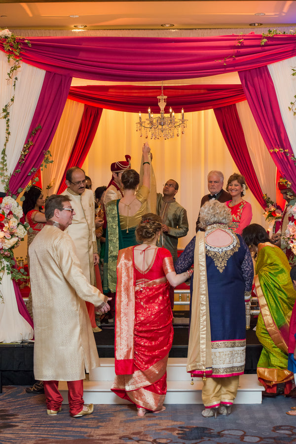 Bride and Parents | A Vibrant Indian Fusion Wedding | Kate Aspen