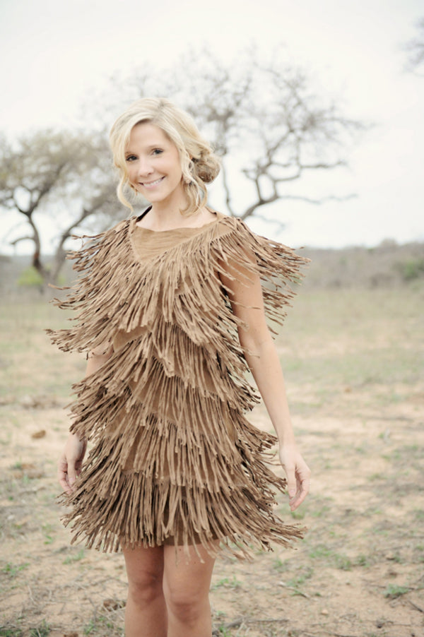 Bride in Brown Fringe Dress | African Safari Wedding | Sarah Marie Photos