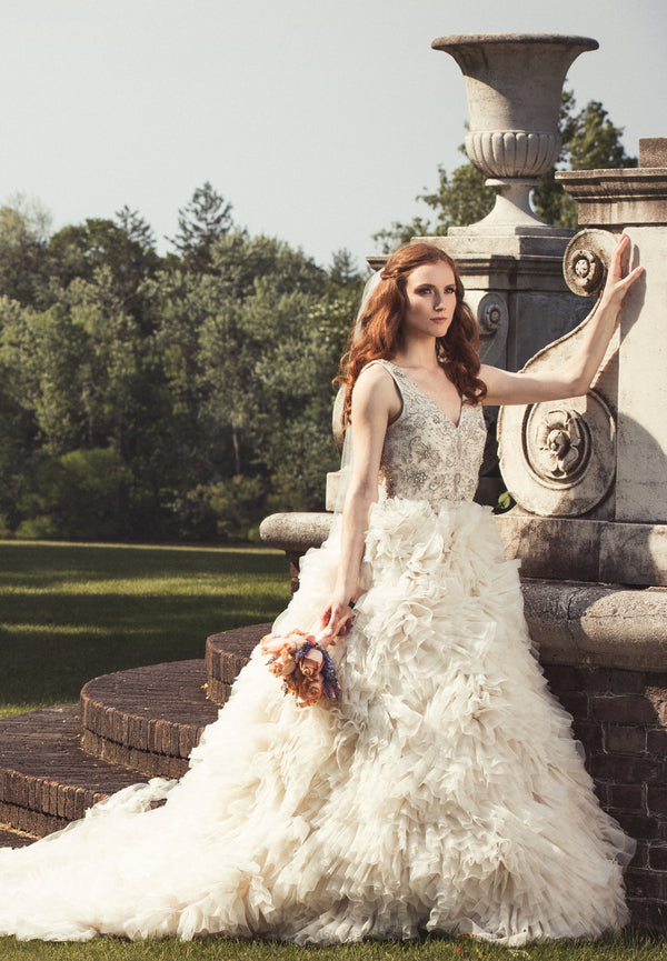Bride in Gorgeous Wedding Gown | Garden Wedding Ideas | Jaylim Studio | Kate Aspen