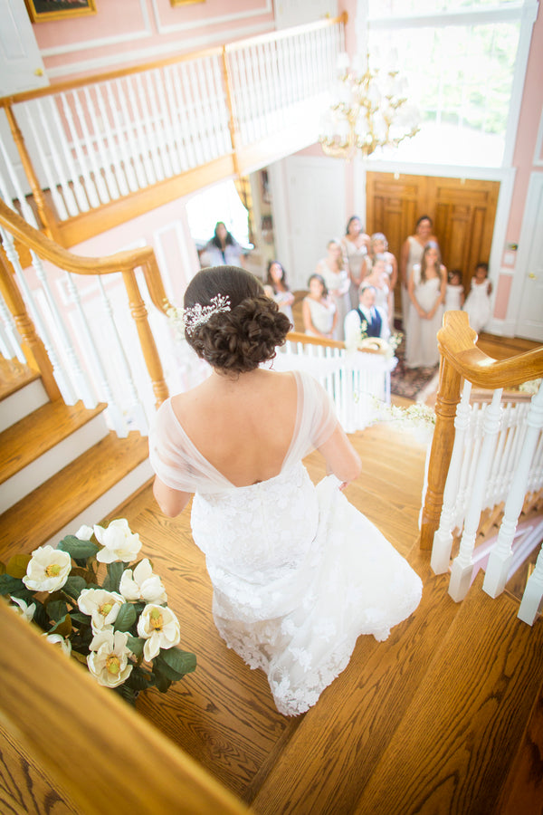 Bride Walking Down Stairs | An Astounding Amber Wedding | Kate Aspen