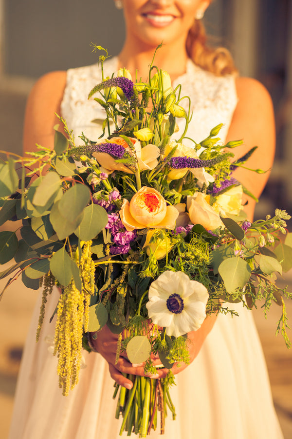 Lush Handpicked Bridal Bouquet | Mountain Bike Industrial Themed Wedding Shoot | Lifestyle Photography