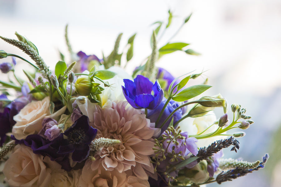 Bride's Purple Bouquet | Purple Industrial Themed Wedding | Asteria Photography