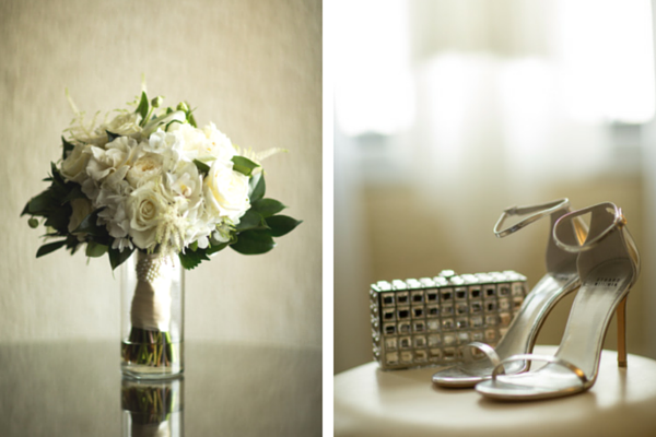 Bride's Silver Heels and Clutch and White Bouquet | Candice C Cusic Photography